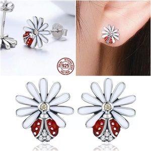 .925 Sterling Silver Enamel Ladybug Earring Set